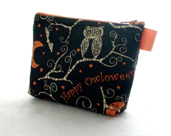 Cute Owl on Branch Fabric Cosmetic Bag Fabric Zipper Pouch Makeup Bag Zip Pouch Halloween Happy Owloween Black Orange Bats Moon Stars