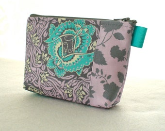 Amy Butler Violette Fabric Gadget Pouch Small Cosmetic Bag Fabric Zipper Pouch Makeup Bag Floral Silhouette Vine Gray Lavender Turquoise