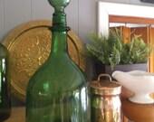 Vintage Tall Emerald Green Decanter ~ Bottle ~ Green Glass ~ BOHO