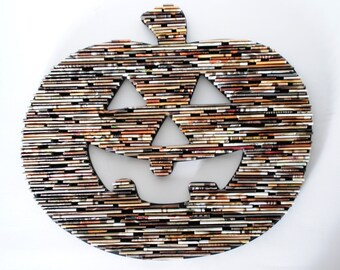 20% OFF pumpkin- made from recycled magazines, colorful, art, sticks, paper, recycled magazies, unique, fall, harvest season