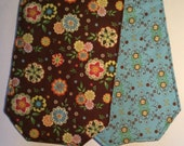 "70"" Long Table Runner Handmade Reversible  Flowers Brown Light Blue"