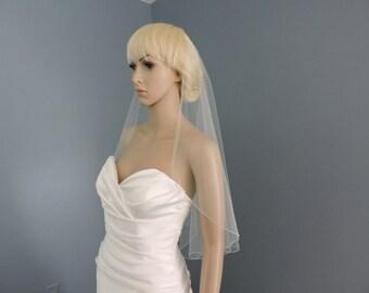 Cascade Mantilla Style Wedding Veil Pencil Edge Sheer, Bridal Veil