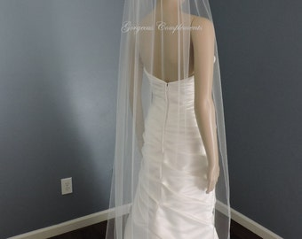 Floor Length Sheer Wedding Veil with Pencil Edge, Bridal Veil ST7050PE