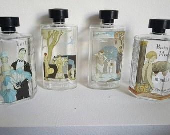 Set of 4 1920's Charming Art Deco Style Decorative Bubble Bath Bottles - FREE SHIPPING