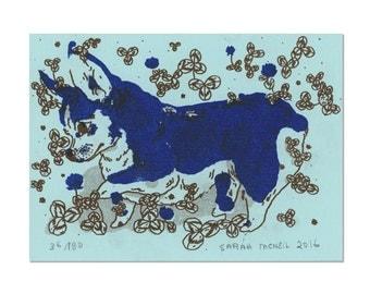Corgi Print on Blue Card