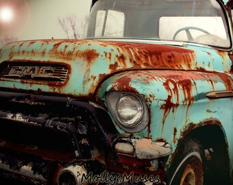 Truck Photography, Old GMC Photo, Rustic Americana Home Decor, Turquoise Blue Rust, Nostalgic Art, Man Cave Garage Decor, Truck Art Print