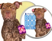 Staffordshire Pit Bull Terrier Herbal Boo Boo Butter for Your Dog's Discomforts 1 oz tin with Staffordshire Bull Terrier Label in Gift Bag