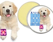 BOO BOO BUTTER™ Handcrafted All Natural Balm for Your Dog's Discomforts 4 oz tin with Bandaged Paw Label Other Breed Labels Available