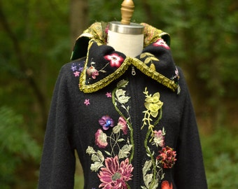 Long floral sweater COAT/ embroidered boho Fantasy refashioned clothing. Size L/XL. Ready to ship