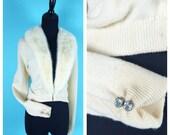 Vintage 1950s Cashmere Fur Collar Cardigan Cream colored rhinestones on the wrists. M/L Bernard Altmann