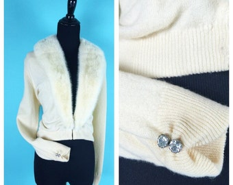 Vintage 1950s Cashmere Fur Collar Cardigan Cream colored rhinestones on the wrists. M/L Bernard Altmann