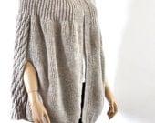 Oversized Poncho Sweater Beige Knit Cardigan Coat Chunky Wool Poncho Wrap Sweater Hand Knit