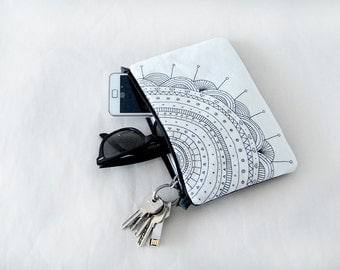 White flower clutch bag mini purse printed illustration small bag black and white clutch bag design small bag cotton canvas chain pouch