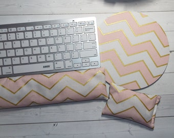 gold pink chevron mouse pad Keyboard rest and or WRIST REST MousePad set -  coworker gift - office Desk Accessories