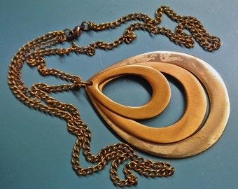 Rare vintage 1960s all pure brass 3-part dropformed pendant necklace with brass chain and lobster clasp