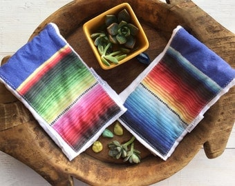SALE - Mexican Serape Baby Burp Cloth - Colorful Burp Cloth Set Maui, Hawaii by bitty bambu