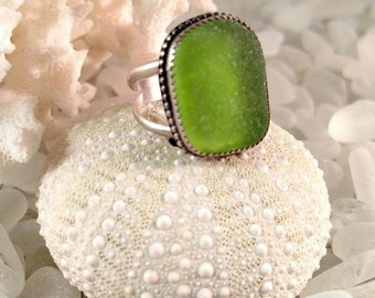 Sea Glass Ring Genuine Green Sea Glass Sterling Silver Ring Size 7