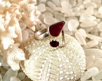 Sea Glass Ring Genuine Red Sea Glass Silver Adjustable Ring