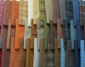 Muted Gold, Green, Red, Blue, and Brown tones of Rug Hooking and Wool Applique Hand felted wool fabrics