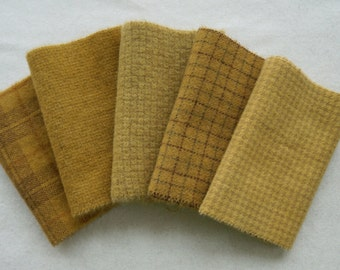 Gold Hand Dyed felted wool fabric bundle for Wool Applique, Penny Rugs, Rug Hooking,Quilting Fabric by Quilting Acres