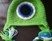 "Mike Wazowski Hat ""Monsters Inc."" ""Monsters University"" ""Earflap"" ""Crochet"" Sizes Newborn-Large Adult"