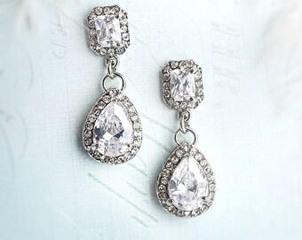 CLEARANCE SALE - Vintage Style Pear Shaped earrings, Wedding Earrings, Bridesmaid earrings, CZ earrings, 1920s earrings -' Amanda'