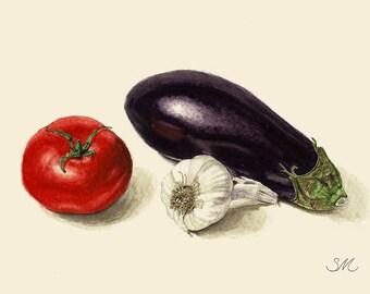 Eggplant Tomato Garlic Still Life | Small Art | Kitchen Art