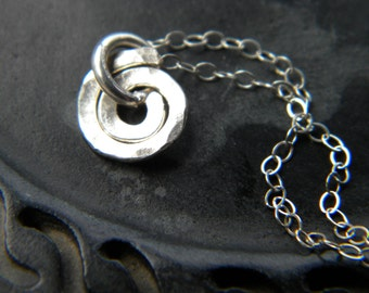 Sterling silver tiny spiral necklace - hammered forged metal - handmade jewelry - minimalist - small necklace