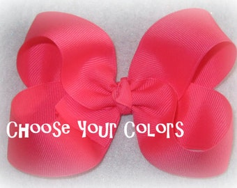 large Boutique Hair Bows, Lot Set of 10 hairbows, Girls Hair Bows, Basic Bows, Classic Bows, Wholesale Hair Bows, 5 inch bow, loopy bow, 45g