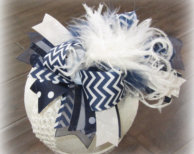 Navy Blue Over the Top Bow, Big baby Headband, Blue Chevron OTT, Large Ostrich Feather Hair Bow, Boutique Pageant Hairbow, Chevron OTT Bows,