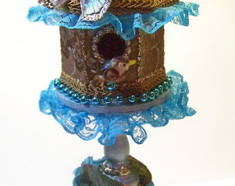 Birdhouse, Home Decor, Floral Arrangement, Gifts for Her, Gifts for Him, Teal, Lace, Free shipping, Bird Lover, Bird, House, Decoration,