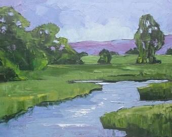 Impressionist Painting Plein Air Landscape CALIFORNIA Spring Stream Lynne French 16x20