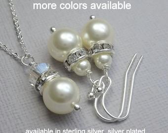 Set of 7 Bridesmaid Jewelry Set, Swarovski Ivory Cream Pearl Necklace and Earring Set, Bridesmaid Jewelry Set, Bridal Party Jewelry