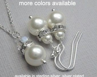 Set of 9 Bridesmaid Jewelry Set,  Swarovski White Pearl Jewelry Set, Bridesmaid Jewelry Set, Bridal Party Gift, Wedding Jewelry Set