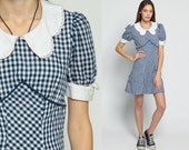 60s Mod Dress Mini Babydoll Puff Sleeve Gingham Lace Navy Blue 1960s Dolly Collar 70s White Empire Waist Vintage MiniDress Small