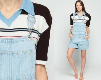 90s Overall Shorts Denim Shortalls Romper Playsuit Grunge Jean Suspender Light Blue Faded One Piece Woman 1990s Vintage Medium