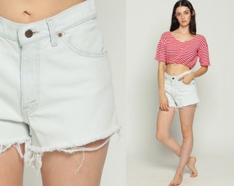 Levis Denim Shorts White Jean Shorts Cut Off Shorts 80s Levi Cutoff High Waisted Cutoffs 1980s Frayed Vintage Medium