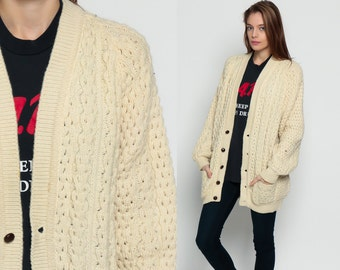 Cable Knit Sweater WOOL Fisherman Cardigan Irish Long 70s Boho Cream Bohemian Chunky Grandpa Vintage 80s Cableknit Extra Large Xl