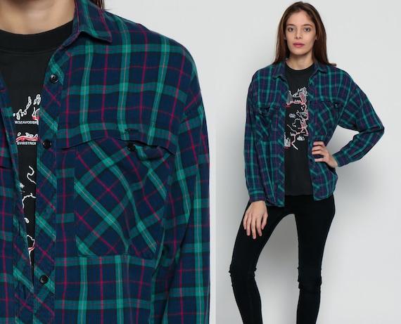 Blue flannel shirt 90s plaid grunge lumberjack green navy blue for Navy blue and red flannel shirt
