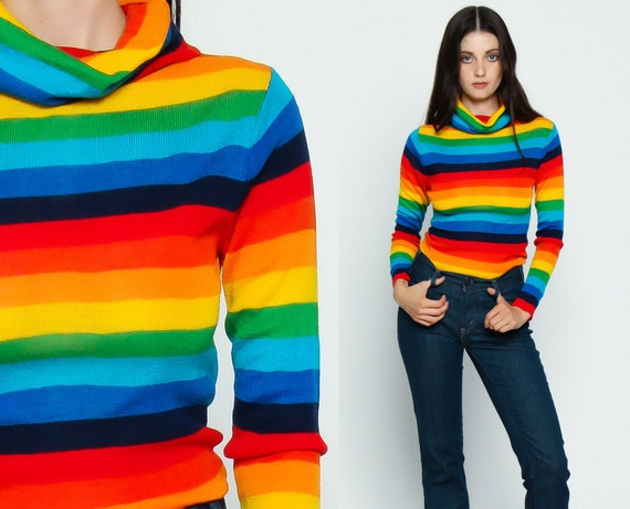 STRIPED Sweater Rainbow TURTLENECK Top 80s Long Sleeve Green