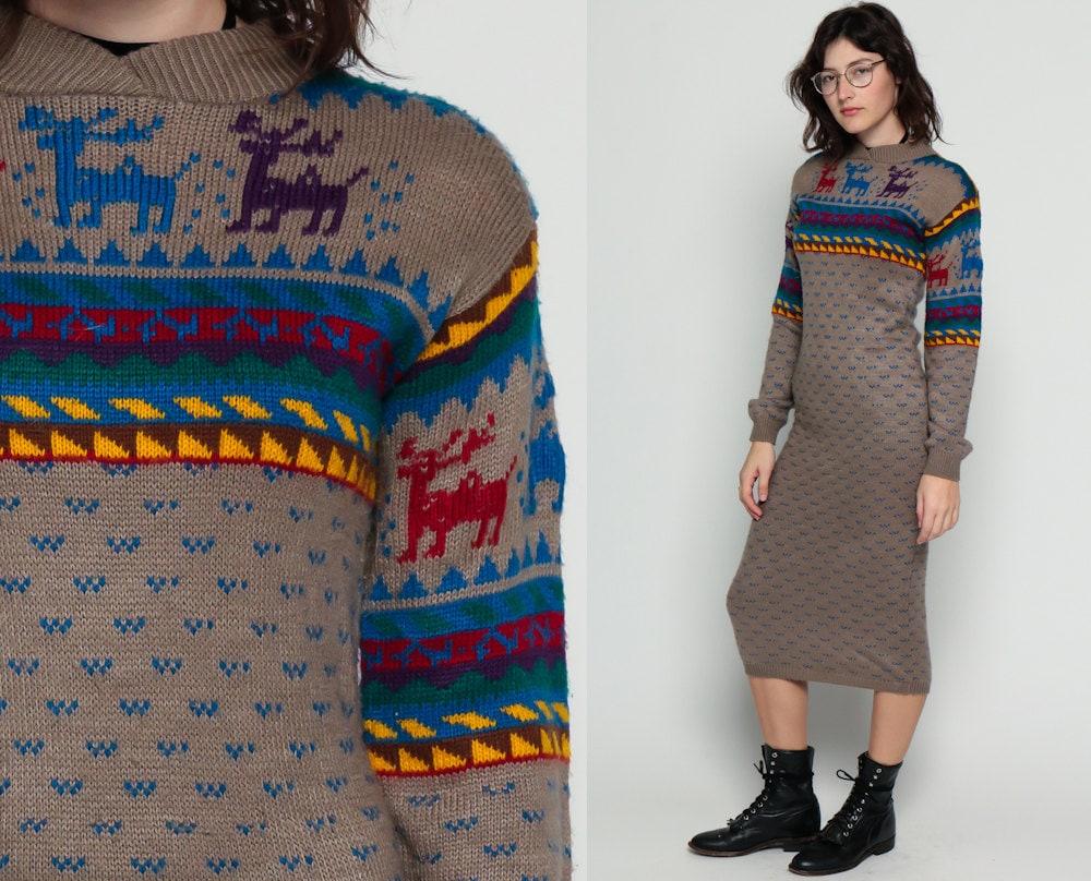80s sweater dress reindeer print nordic boho geometric graphic. Black Bedroom Furniture Sets. Home Design Ideas