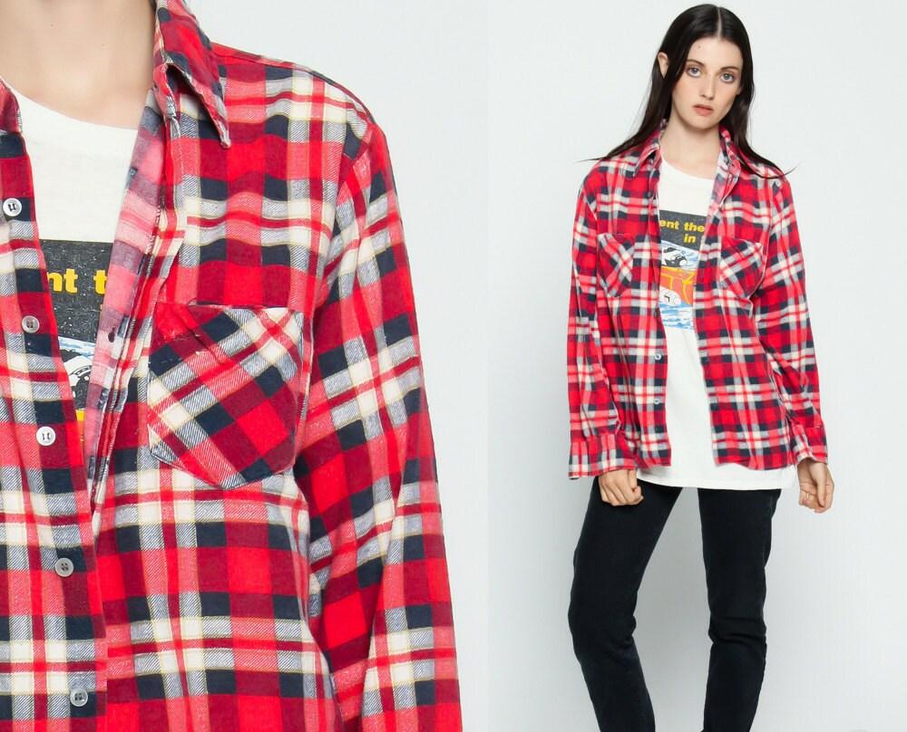 Flannel shirt 90s red plaid grunge lumberjack navy blue white for Navy blue and red flannel shirt