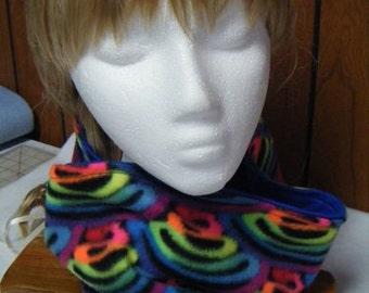 Cow Neck Scarf Collar or Scarf in Bright Multi Color Wiggles on Black Fleece