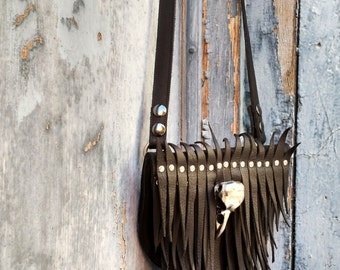 Primitive Feathered Black Leather Sporran Hip Bag or Pouch with Nickel Raven Skull