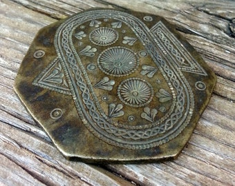 Vintage Bronze Large Detailed Tribal Pendant Jeweler Jewelry Stamp Die Mold