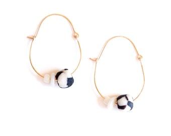 Umbra Earrings - Black and white glass gold fill earrings