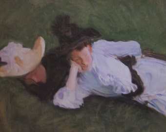 John Singer Sargent- Two Girls on a Lawn-- Unframed Reproduction Art Print, 9.5 x 14 in Book Page, Color Plate, Book Plate