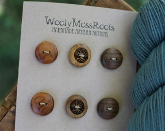 6 Mixed Wood Buttons- in Reclaimed Woods- Eco Knitting Supplies, Sewing Supplies, Craft Buttons- DIY Knitting Supplies