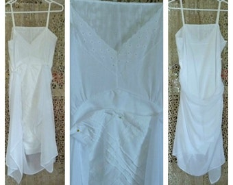 Eyelet Slip Dress Embroidered Lace Size Large, XL Womens Vintage