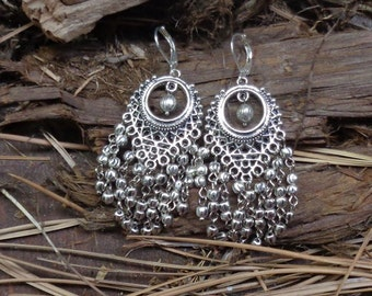 Silver Chandelier Earrings - Handcrafted - 7203
